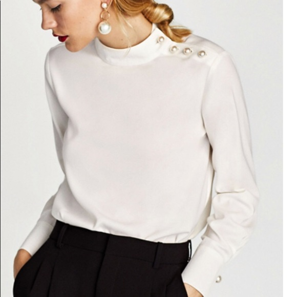 e4bb5f83a373 Zara Tops | Beautiful Elegant White Silk Shirt High Neck | Poshmark